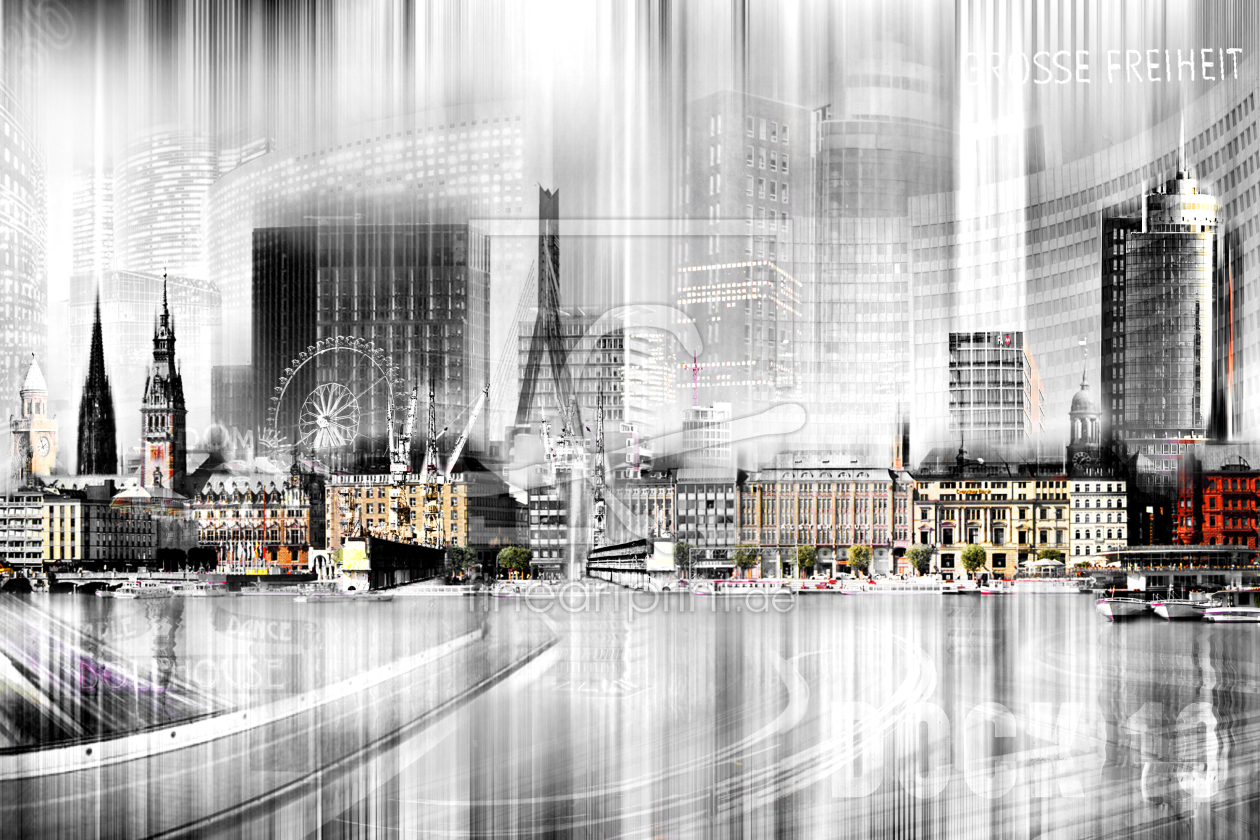 Hamburg Skyline Abstrakte Collage As A Canvas Print 10