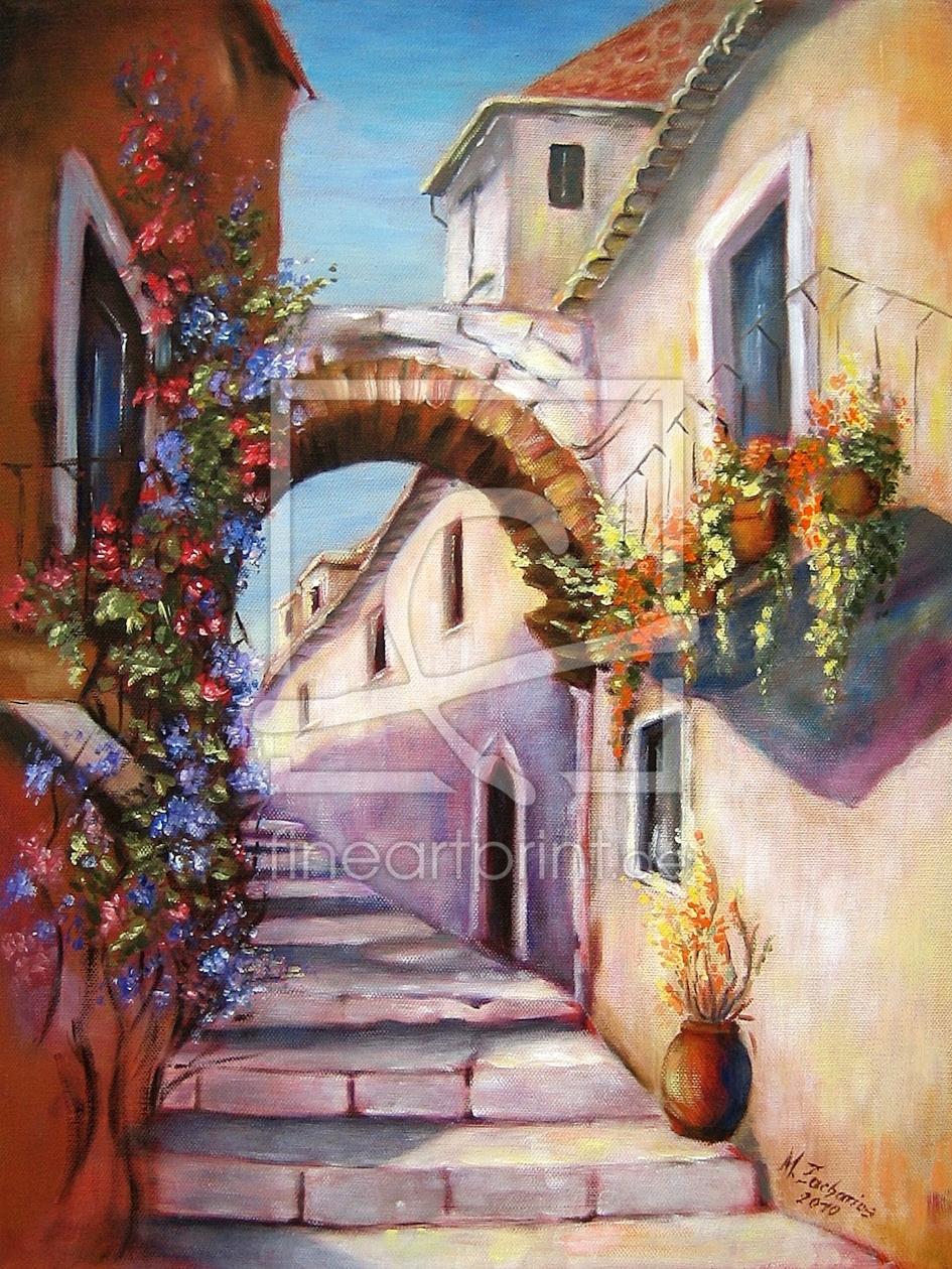 Mediterrane Gasse - Mediterrane Gemälde as a canvas ...