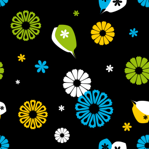Picture no: 9000463 Flowerpower Schwarz Created by: patterndesigns-com