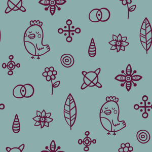 Picture no: 9010460 Vögel vernarrt in Blumen Created by: patterndesigns-com