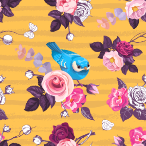 Picture no: 9014401 Vögel Im Rosengarten Created by: patterndesigns-com