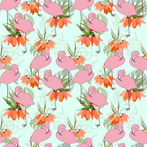 Picture no: 9015209 Flamingos und tropische Pflanzen Created by: patterndesigns-com