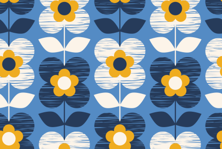 Picture no: 9015487 Handgezeichnetet Retro Blüten Created by: patterndesigns-com