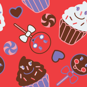 Picture no: 9025841 Happy Desserts Rot Created by: patterndesigns-com