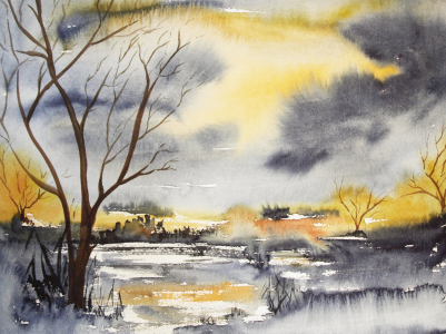 Picture no: 9973440 Landscape - Aquarell Created by: Galerie-Fotoeffekt