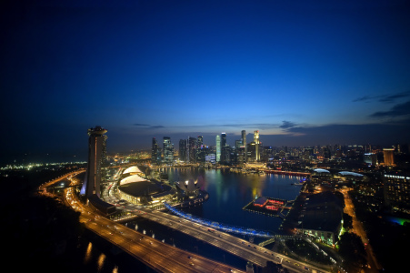 Picture no: 10178899 Singapur - Ausblick aus dem Flyer auf die Skyline mit Marina Bay Sands Created by: fotos4fun