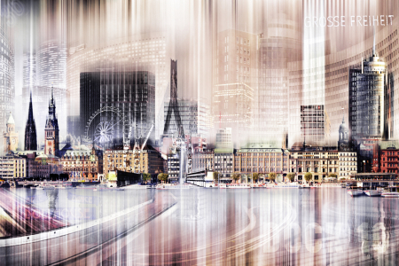 Picture no: 10566864 Hamburg Skyline Abstrakte Collage Created by: Galerie-Fotoeffekt