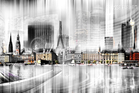 Picture no: 10566866 Hamburg Skyline Abstrakte Collage Created by: Nettesart