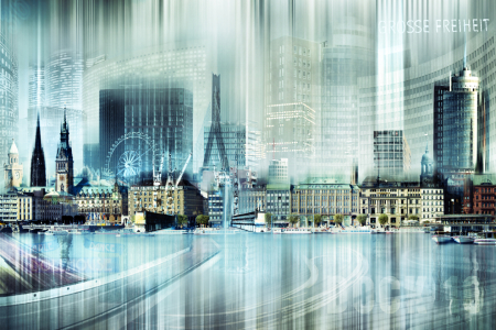 Picture no: 10566890 Hamburg Skyline Abstrakte Collage Created by: Galerie-Fotoeffekt