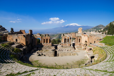 Picture no: 11302642 Griechisches Theater Taormina mit Ätna Created by: Circumnavigation