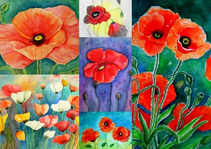 Picture no: 11696526 Mohnblumen-Collage Aquarelle Malerei Created by: siegfried2838