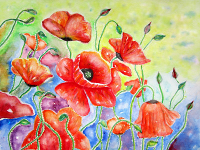 Picture no: 11745260 Mohn-Wiese Aquarell Created by: siegfried2838