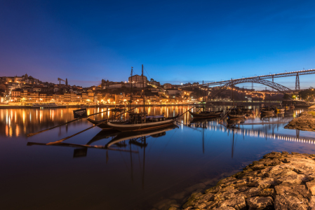 Picture no: 11885113 Holzboote zur Blaue Stunde - Porto,  Portugal Created by: Robin-Oelschlegel-Photography