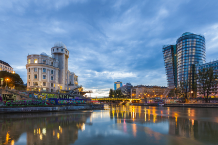 Picture no: 11889685 Urania und Uniqa Tower am Donaukanal in Wien Created by: dieterich