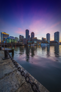 Picture no: 11926318 BOSTON Fan Pier Park - Skyline zum Sonnenuntergang Created by: Melanie Viola