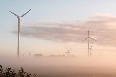 Picture no: 12015108 Windräder im  Nebel bei Sonnenaufgang Created by: Ostfriese