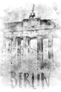 Picture no: 12058098 Monochrome Kunst BERLIN Brandenburger Tor Aquarell Created by: Melanie Viola
