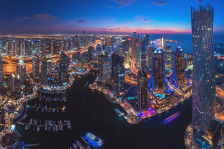 Picture no: 12154318 Dubai Marina Skyline Panorama Blaue Stunde Created by: Jean Claude Castor