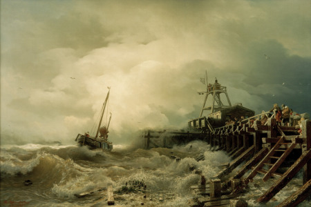 Picture no: 30000024 Andreas Achenbach,  Sturm an der Mole Created by: Achenbach, Andreas