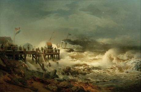 Picture no: 30000026 Andreas Achenbach,Abfahrt eines Dampfers Created by: Achenbach, Andreas