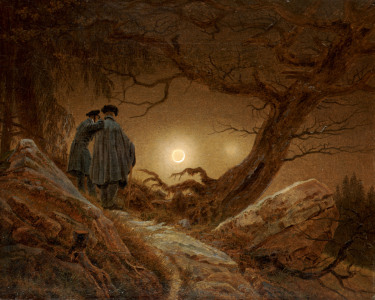 Picture no: 30000290 Men Contempl.Moon / C.D.Friedrich / C19 Created by: Friedrich, Caspar David