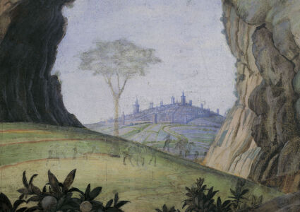 Picture no: 30002170 Mantegna /Cam.d.Sposi, Landscape/ Fresco Created by: Mantegna, Andrea