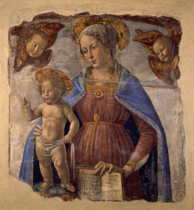 Picture no: 30002222 D.Ghirlandaio, Virgin and Child /Fresco Created by: Ghirlandaio Domenico (Domenico Tommaso Bigordi)