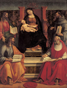Picture no: 30002530 L.Signorelli /Mary w.Child & Saints/Ptg. Created by: Signorelli, Luca