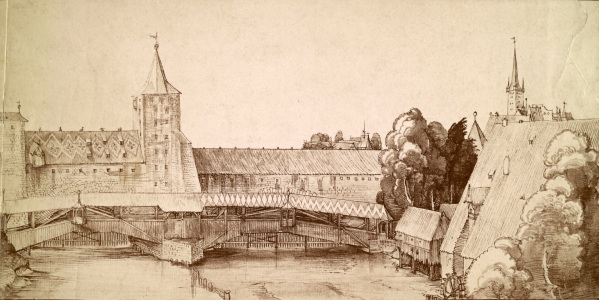 Picture no: 30003018 A.Dürer, Covered Footbridge at Haller G. Created by: Dürer, Albrecht