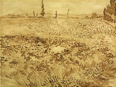 Picture no: 30003252 V.v.Gogh, Wheat Field / Drawing / 1888 Created by: van Gogh, Vincent