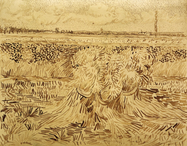 Picture no: 30003256 V.v.Gogh, Wheat Field w.Sheaves / Draw. Created by: van Gogh, Vincent