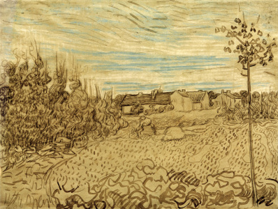 Picture no: 30003260 V.v.Gogh, Cottages w.Woman.../Draw./1890 Created by: van Gogh, Vincent