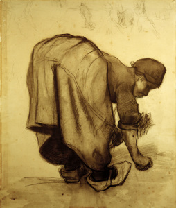 Picture no: 30003338 Van Gogh, Peasant Woman Gleaning /Draw. Created by: van Gogh, Vincent