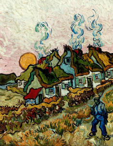 Picture no: 30003354 van Gogh / Farmhouses at sunset / 1890 Created by: van Gogh, Vincent