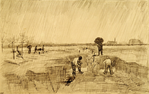 Picture no: 30003522 Van Gogh, Cemetery in the Rain / Draw. Created by: van Gogh, Vincent