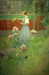 Picture no: 30003802 C.Larsson, Lisbeth with peonies / 1908 Created by: Larsson, Carl