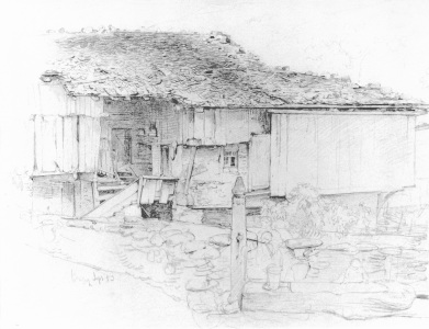 Picture no: 30004410 L.Knaus / Farmhouse in Brienz / Draw. Created by: Knaus. Ludwig