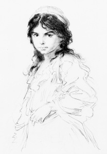 Picture no: 30004414 L.Knaus / Gypsy Girl / Drawing / c.1870 Created by: Knaus. Ludwig