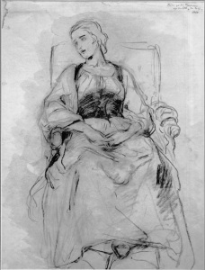 Picture no: 30004536 Ludwig Knaus / Seated Young Woman / Draw Created by: Knaus. Ludwig