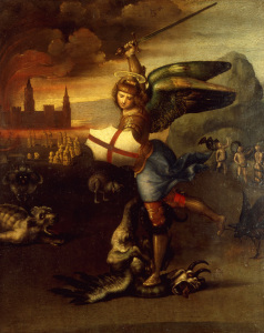 Picture no: 30004682 Raphael/St.Michael and the dragon/c.1504 Created by: Raffaello Santi (Raffael)