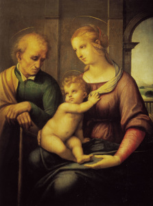 Picture no: 30004752 Raphael / Holy Family w.beardless Joseph Created by: Raffaello Santi (Raffael)