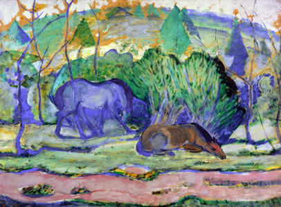 Picture no: 30005592 Franz Marc / Horse in a landscape Created by: Marc, Franz