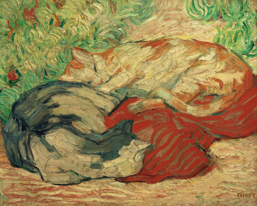 Picture no: 30005620 F.Marc, Cats on a red blanket / 1909/10 Created by: Marc, Franz