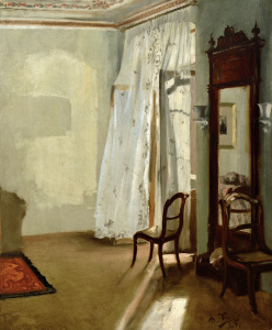 Picture no: 30005746 A.von Menzel, Room with Balcony / 1845 Created by: von Menzel, Adolph Friedrich Erdmann