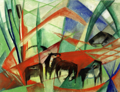 Picture no: 30005836 Marc /Landscape with black horses /1913 Created by: Marc, Franz
