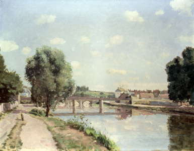 Picture no: 30006240 Pissarro / The railway bridge / c.1875 Created by: Pissarro, Camille