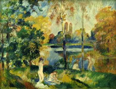 Picture no: 30006452 Renoir / Landscape with bathers / c.1885 Created by: Renoir, Pierre-Auguste