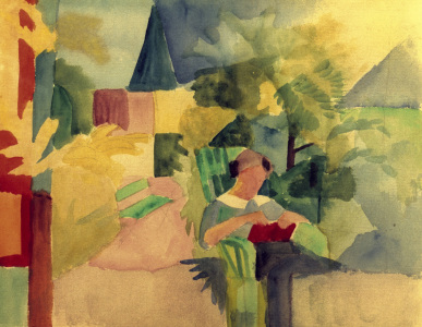 Picture no: 30006468 A.Macke, Garten mit lesender Frau Created by: Macke, August