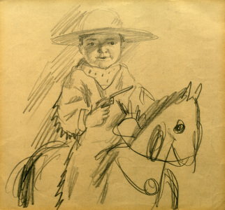 Picture no: 30006514 A.Macke, Walter als Cowboy / Zeichnung Created by: Macke, August