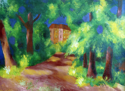 Picture no: 30006528 Macke / Red house in a parc / 1914 Created by: Macke, August